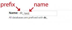 Database prefix illustration in MySQL Manager