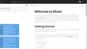 Ghost administrative dialog after setup