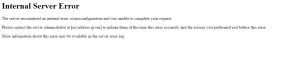 Generic Apache error handler when PassengerErrorOverride is set to Off.