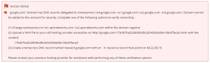 Addon domain verification error that must be completed before a domain may be added to an account.