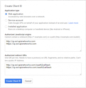 Configured Client ID dialog generated for an account on the server named
